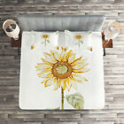 Sunflower Quilted Coverlet & Pillow Shams Set, Minimalistic Artwork Print image