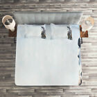 Winter Quilted Coverlet & Pillow Shams Set, Gray Horse Snow Scenery Print image