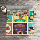 Colorful Quilted Coverlet & Pillow Shams Set, Carnival Old Circus Print image