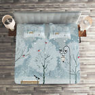 Winter Quilted Coverlet & Pillow Shams Set, Snow in Park Xmas Trees Print image