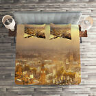 Panorama Quilted Coverlet & Pillow Shams Set, London Aerial Scenery Print image