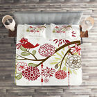 Christmas Quilted Coverlet & Pillow Shams Set, Red Bird Floral Tree Print