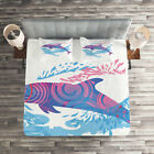 Animal Quilted Coverlet & Pillow Shams Set, Cartoon Jumping Dolphin Print image