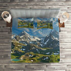 Nature Quilted Coverlet & Pillow Shams Set, Snowy Mountain Lake Print image