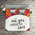 Colorful Quilted Coverlet & Pillow Shams Set, Hippie Retro Quote Print image