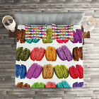 Colorful Quilted Coverlet & Pillow Shams Set, Coffee Shop Cookies Print image