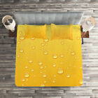 Yellow Quilted Coverlet & Pillow Shams Set, Ombre like Beer Glass Print