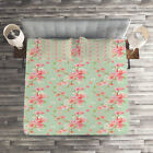 Flowers Quilted Coverlet & Pillow Shams Set, Retro Spring Blossoms Print image