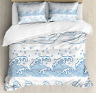 Japanese Wave Duvet Cover Set with Pillow Shams Traditional Japan Print