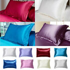 Smooth Silk Queen/Standard Pillowcase Solid Color Bedding Pillow Case Home Decor image