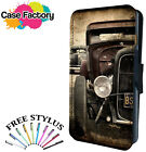 RAT HOD RODS AMERICAN MUSCLE CARS - Leather Flip Wallet Phone Case Cover