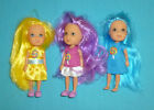Kelly Size Dolls Set of 3 Colored Hair Blue Purple & Yellow Chic