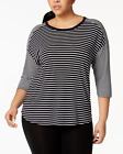 Calvin Klein Performance Plus Size Mixed-Stripe Drop-Shoulder Top Black/White