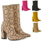 Womens Sock Stretch Ankle Boots Ladies Pull On Sock Block High Heel Shoes