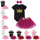 Baby Girls First Birthday Outfits Unicorn Romper Skirt with Headband Clothes Set
