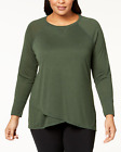Calvin Klein Plus Size Crossover-Hem Top Vine Green