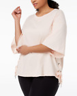 Calvin Klein Performance Plus Size Relaxed Bell-Sleeve Side-Tie Top Blush