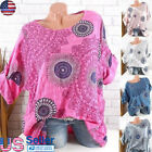 WOMEN FLORAL PRINT TOPS LONG SLEEVE BAGGY LADIES CASUAL BLOUSE PULLOVER US S-5XL