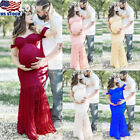 Pregnant Women Off-shoulder Lace Long Maxi Dress Maternity Photography Gown Prop