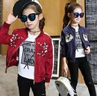 Hot Kids Girls Boys Casual Jacket Embroidery Long Sleeve Coat Childen Clothes