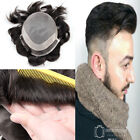 Mens Toupee Hairpiece Mono Poly Remy Indian Wig Black Hair Replace P1-3-5 hairs