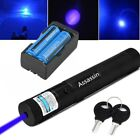60 Miles 405nm Blue Purple Laser Pointer Pen Visible Beam Lazer +Battery+Charger