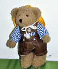 "Kein Spielzeug Bear 9"" Brown Plush Toy Overalls Checkered Shirt Hat All Occasion"