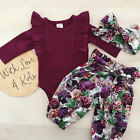 Kyпить Newborn Baby Girl Romper Tops Jumpsuit Floral Pants Headband Outfit Clothes Set на еВаy.соm