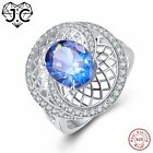 Oval Cut Mystic Fire Rainbow White Topaz Ring Size Woman Party Fine Jewelry