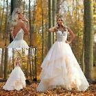Champagne Wedding Dresses Bridal Gowns Strapless Ruffles Appliques Princess 2019