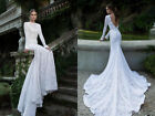 White Ivory Wedding Dresses Bridal Ball Gowns Lace Long Sleeves Backless Mermaid