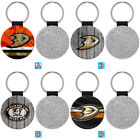 Anaheim Ducks Sporty Leather Glitter Key Chain Car Keyring Ring $3.99 USD on eBay