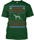 Greyhound Ugly Christmas Sweater. - Warm Snuggles And Hanes Tagless Tee T-Shirt