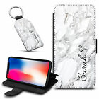 Marble Personalised PU Leather Wallet Case & Keyring For Various Mobiles - 06