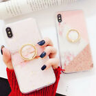 Marble Ring Holder Protection Soft TPU Case Cover For iPhone XS Max XR 8 7 Plus
