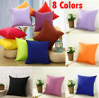 Plain Solid Throw Home Decor Pillow Case Bed Sofa Waist Cushion Cover 8 Styles image