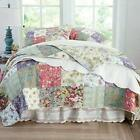 BEAUTIFUL PATCHWORK COUNTRY VINTAGE IVORY PINK FLORAL ROSE GREEN BLUE QUILT SET image