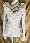 Diego Reiga ~White Ruffled Wired V-Neck Hooks&Eye Down ~Long Sleeve Blouse ~Sz.L