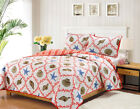 Full/Queen or King Quilt Set Coastal Starfish Seashell Coral Coverlet Bedspread image