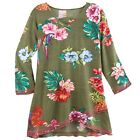 Parsley & Sage Women's Tropical Flower Print Tunic Top - Green 3/4 Sleeve V-Neck