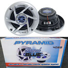 "Pyramid 4"" Royal Blue Cone 10cm 100mm 160w Car Van Door Speaker Silver Grills"