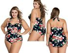 Women Ladies Plus Size Floral Swimsuit Costume Beach Swimming Swimwear 18-26