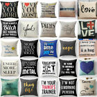Vintage Funny Words Pillow Case Cotton Linen Sofa Throw Cushion Cover Home Decor image