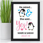PERSONALISED Penguin Couples Engagement Gifts She Said Yes Congratulations Gifts