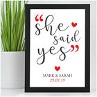 PERSONALISED Engagement Gift She Said Yes Engaged Congratulations Gifts for Her