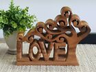 Love Sign Carving Wood Rustic Decor Mother Figurines Gift Handmade Craft Thailan