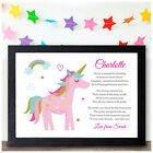 Personalised UNICORN Gifts for Girls Her Daughter Grandaughter Niece Birthday