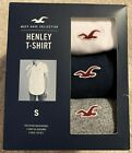 Hollister 3-Pack Must-Have Henley T-Shirts White - Navy - Grey Brand New