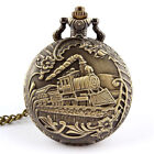 Unisex Antique Case Brass Rib Chain Train Pattern Quartz Pocket Watch Gift HOT image