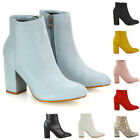 Womens Ankle Boots Block Mid High Heel Ladies Casual Smart Party Shoes Booties
